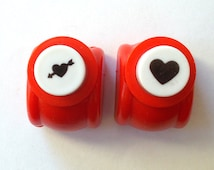 Mini paper punch 2 piece set - Heart with arrow and plain heart craft punch. Scrapbooking supplies. Aluminum paper punch.