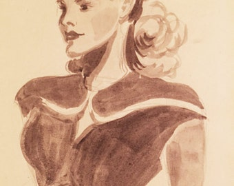 Original OOAK 1930's Department store fashion sketch