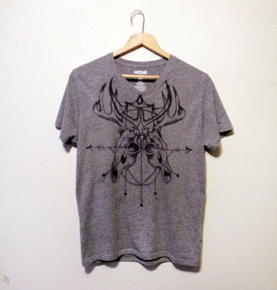deer skull t-shirt deer antler geometric pattern by ...