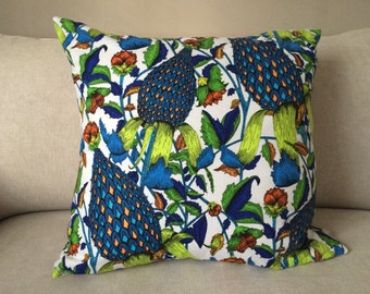 Blue Flora & Fauna Pillow Cover