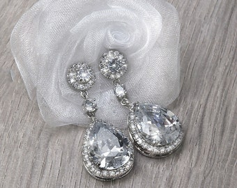 VICTORIA bridal earrings with cubic zirconia rhinestones , cubic zirconia drop earrings