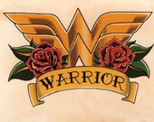Wonder Woman Crest Roses and Banner Tattoo Flash Art- Hand Stained Print