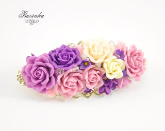 Violet Roses Hair Clip -  hair french clip - romantic jewelry - polymer clay flowers - honey berrete - french barrette