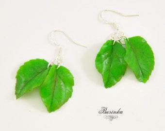 Green Leaf Earrings * leaf jewelry * leaf earrings * spring leaf * spring earrings * elfin leaf - elfin jewelry * wood earrings *