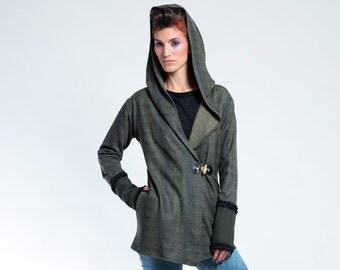 Futuristic Clothing, Fall Jacket, Boho Cardigan, Short Jacket, Wrap Jacket, Gypsy Jacket, Womens Jacket, Hooded Jacket, Cardigan Jacket