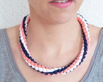 Braided necklace pink neon, Navy Blue and white - hand made