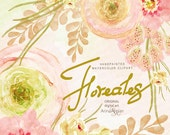 Floreales WATERCOLOR Clipart - Shabby Flowers - digital flowers, DIY invites, Clip art, scrapbooking, wedding invitations, florals scrap