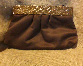 Gorgeous Pleated Brown Beaded Evening Bag