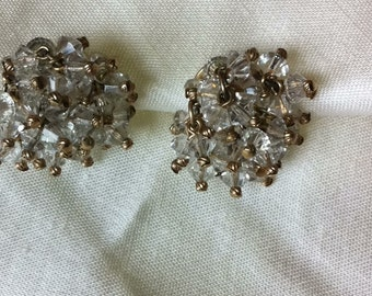Vintage Clear Bead Cluster Dangle Clip On Earrings