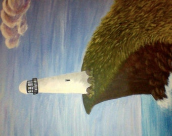 "Hand painted 12""x16"" canvas acrylic painting. Light house with ocean scene."