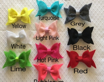 Colorful Felt Bow Clips - you choose color