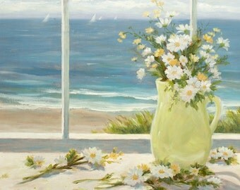 Beach Print, daisies, still life, coastal, nautical, shabby shic, beach art,  from original painting by Tina O'Brien