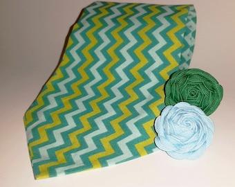 Green & Blue Zig Zag Necktie