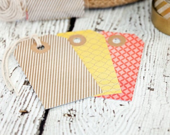 Set of 12 tags, tan, yellow, corral, cardstock tags, colored tags, gift tags, paper goods