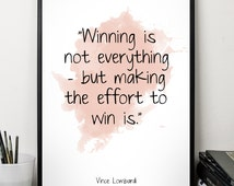 Winning  (...), Vince Lombardi quote, Alternative Watercolor Poster, Wall art quote, Motivational quote, Inspirational quote,T
