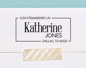 Return Address Stamp, Custom Address Stamp, Self-Inking Stamp, Housewarming Gift, Modern Address Stamp, A108