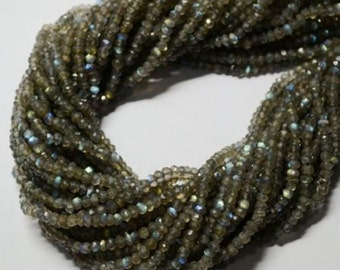 13'' Beautiful ! Gray Labradorite 2.50-3.00 MM APP. rondelle micro faceted beads