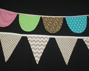 Custom made bunting! Choose colours, length and even shape! Mix and match shapes too. 4 shapes to choose from.