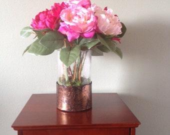 """Silk Flower Arrangement in a vase 14.5""""H x14.5"""" W. Pink. Handmade. Unique."""