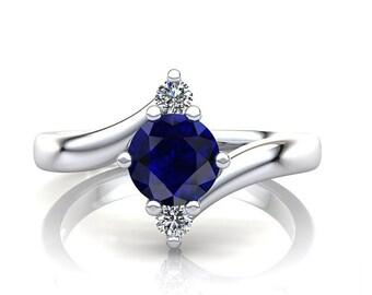 14K Blue Sapphire Three Stone Ring