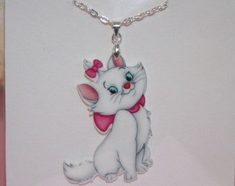 Children's Marie aristocats resin planar or enamel necklace