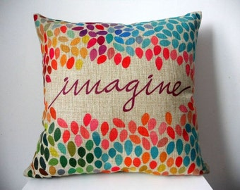 Colorful Imagine Cotton Throw Cushion Cover / Pillow Case