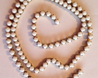 SS18 Chalk (Opaque White)  Crystal Rhinestone Banding Chain - High Quality Czech Stones - Radiant!