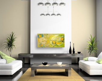 Under Gemini Sky, Modern Trendy Original Artwork, 30 x 15 Abstract Painting By Martha Brito