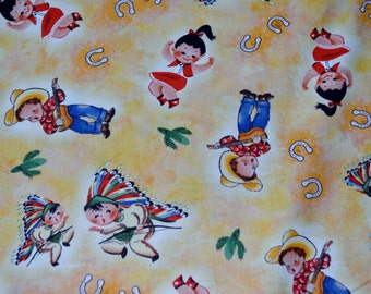 VIP Exclusive Rocking Horse Ranch 100% cotton fabric with vintage 1950's style cowboy and indians.l ~6