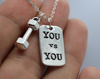 Dumbbell + YOU VS YOU Necklace Fitness Weightlifting Gym crossfit jewelry charms