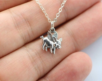 FLYING PIG CHARM Necklace - 925 Sterling Silver - When Pigs Fly Piggy Wings New