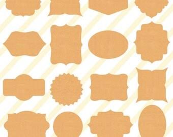 Digital Frames Clipart ,Kraft Paper Frames,Old Paper Labels,Vintage Handmade, Digital Frames Digital cardboard,Kraft Paper Labels