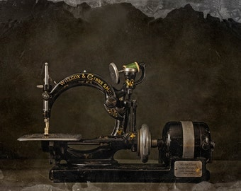 Vintage Sewing Machine Photo, Antique machinery, Steampunk decor, Wall art, Fine art photo, Home or Office decorating