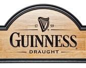 Pine Wood Log Sign - Man Cave Guinness sign beer sign