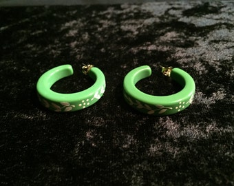 Vintage green lucite hand painted semi hoop earrings