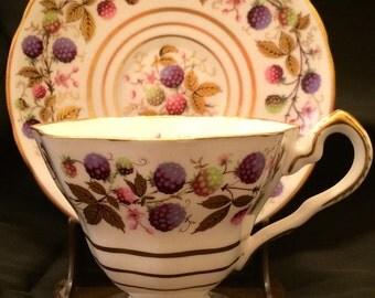 Vintage Royal Stafford Golden Bramble Tea Cup and Saucer Set England