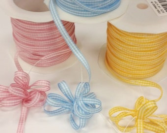 Gingham Pull Ribbon for Decorative Flower Bow Accents for Party Favors - Pink, Blue, Yellow - 10 or 25 yards Lengths