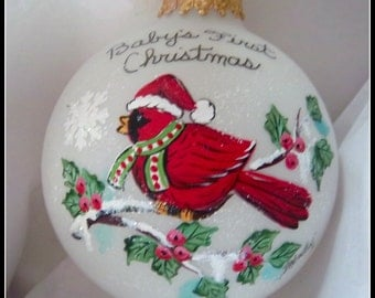 Baby's First Christmas Ornament, Cardinal Ornament,  Boy or Girl, Red Cardinal, Scarf and Santa Hat, Free Inscription, Hand Painted Keepsake