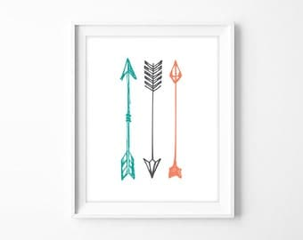 arrow poster, three tribal arrows art printable poster // teal, coral, and charcoal modern art // DIY nursery sign PDF (iconic shapes)