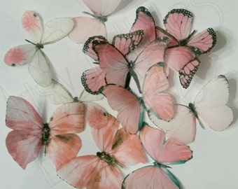 Pink Edible Wafer Paper Butterflies