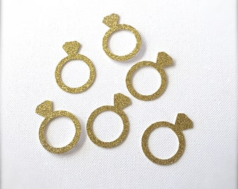 50 Gold Glitter Diamond Ring Confetti