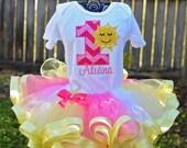 Hot Pink Yellow Sunshine Summer Birthday Outfit Onesie Tutu Shirt Custom Applique