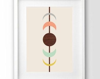Printable Art, Mid Century Print, Moon Phases Art, Scandinavian Art, Pastel Print, Abstract Wall Art,