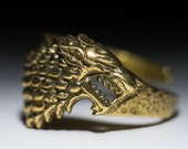 House Stark Direwolf Ring, Game of Thrones, brass, adjustable size, handmade ..... Stark Ring, Game of Thrones Ring