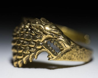 House Stark Direwolf Ring, Game of Thrones, brass, adjustable size, handmade ..... Stark Ring, Game of Thrones Ring