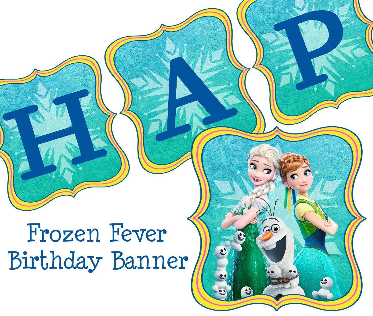 Disney Frozen Fever Birthday Banner Frozen Birthday Banner