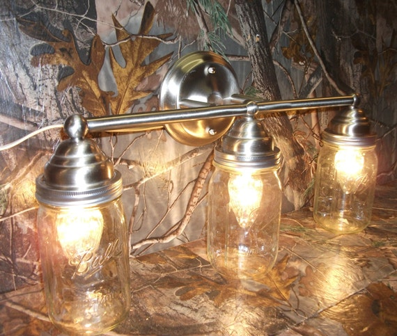 Ball Jar Vanity Lights : Mason Jar Light 3-Light Brushed Nickel Rustic Mason Jar Vanity