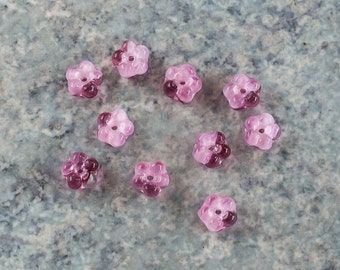 Vintage Givre Pink Flower German Glass Beads 7mm (8)