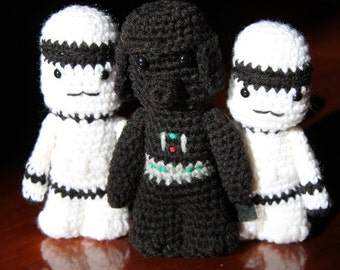 Star Wars Darth Vader with 2 StormTroopers Amigurumi, hand crocheted