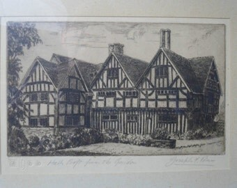 Fine Art Etching by Joseph F Pimm (1900-1972)  Halls Croft - Shakespeare's daughter's home  Limited edition - Shakespeare Stratford-on-Avon